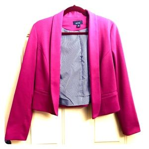 Magenta Pink Straight Lapel Open Blazer 4